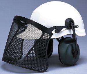 Hard hat with Nylon Mesh Visor And Hearing Protection