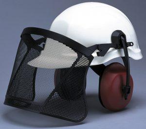 Helmet With Steel Visor and Earmuffs