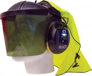 Hellberg Polycarbonate Shaded Sun Visor Safe-1 AM/FM Stereo MP3 Headset